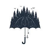 Hand drawn umbrella vector illustrations.