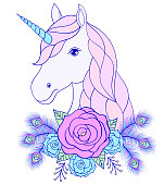 hand drawn unicorn with floral wreath
