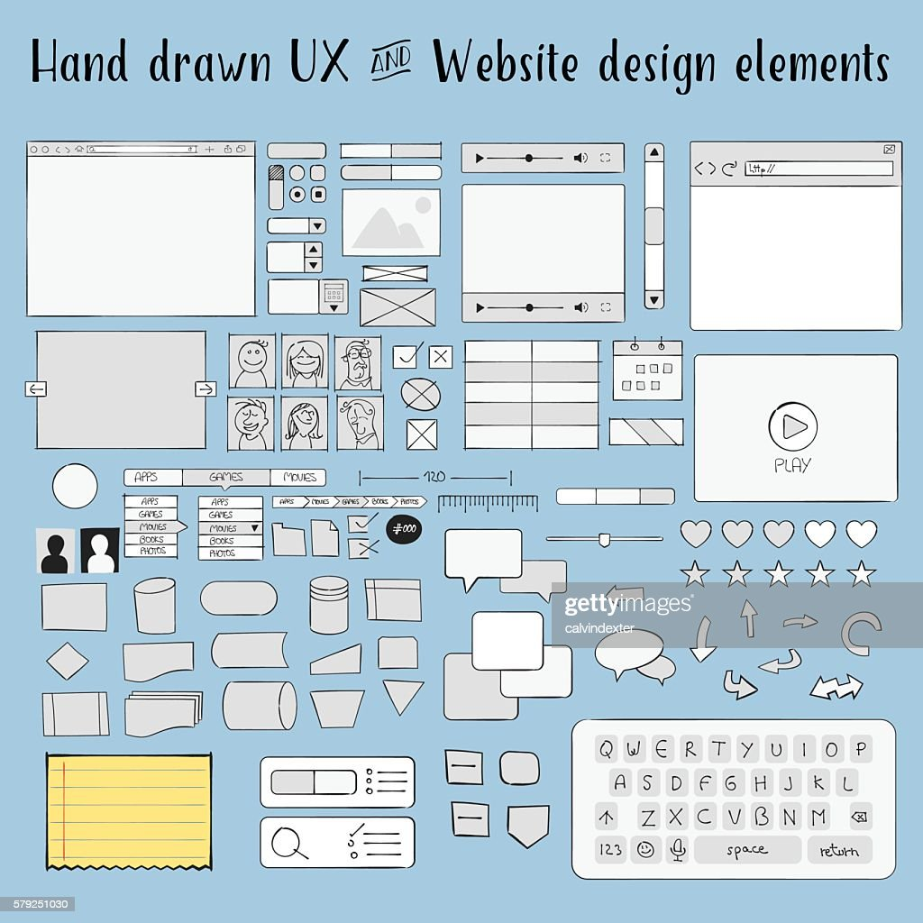 Hand drawn ux and website design elements : ストックイラストレーション