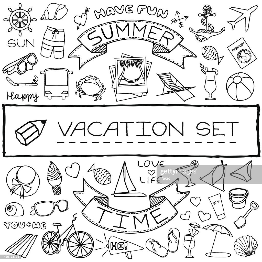Hand drawn vacation icons set. Vector illustration.