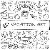 Hand drawn vacation icons set. Vector illustration.