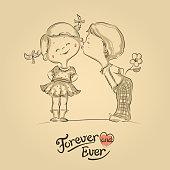 Hand drawn Valentine illustration of boy kissing girl