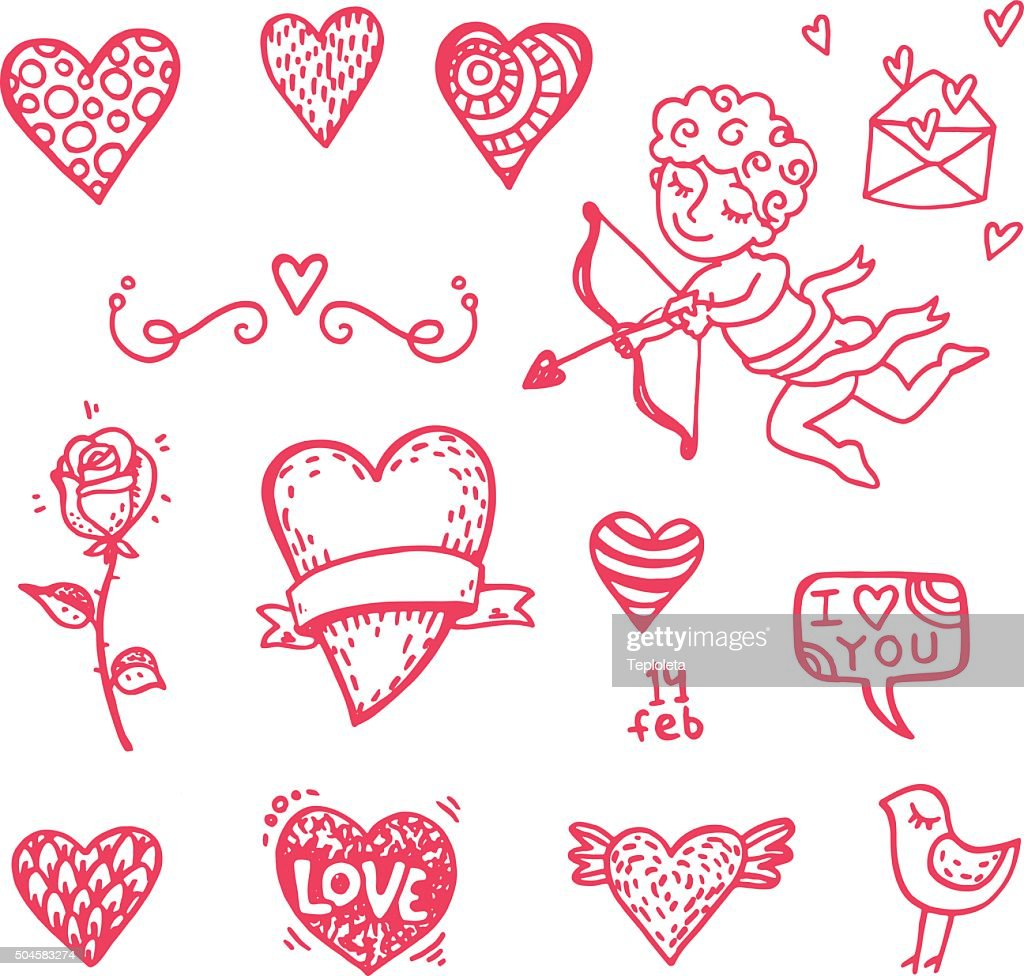 Hand drawn Valentine`s day icons big doodle set.