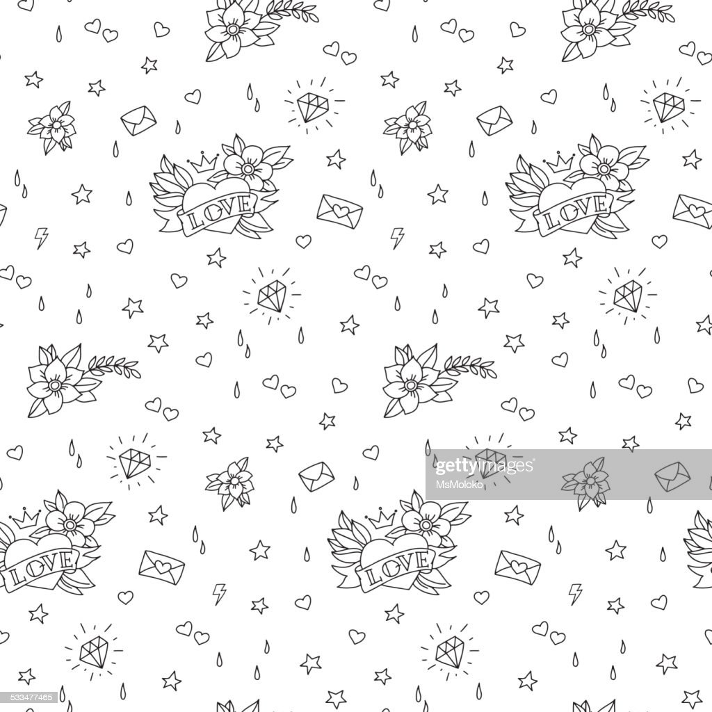 Hand Drawn Valentines Day Tattoo Pattern Vector Art Getty Images