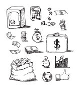 Hand drawn variety of business icons