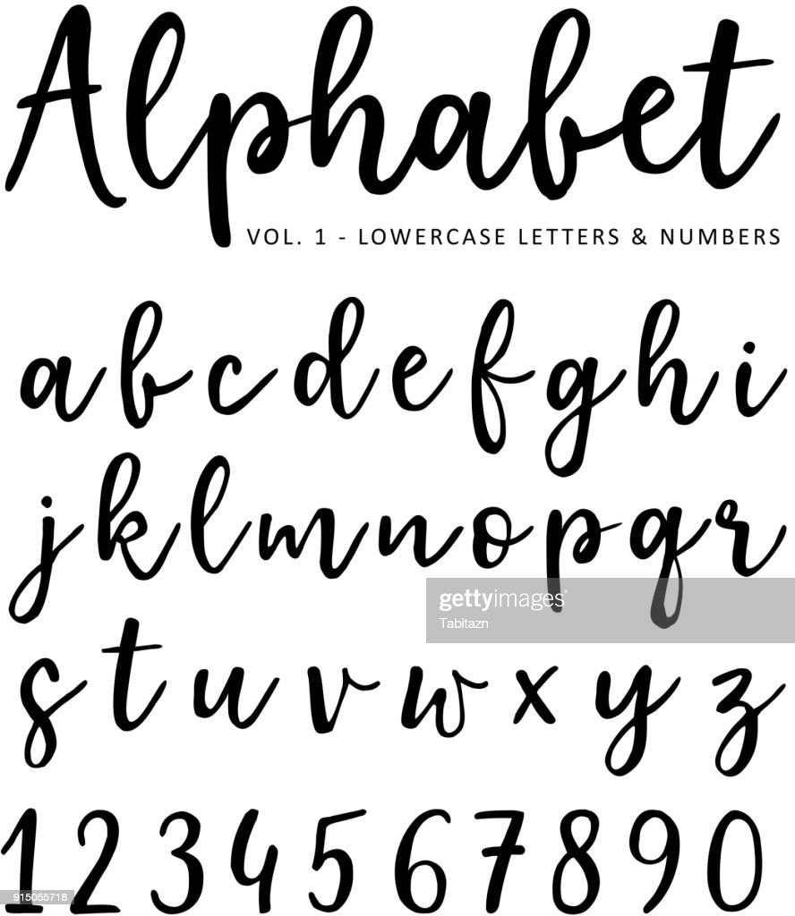 Hand drawn vector alphabet. Brush script font. Isolated lower case letters and numbers written with marker or ink. Calligraphy, lettering