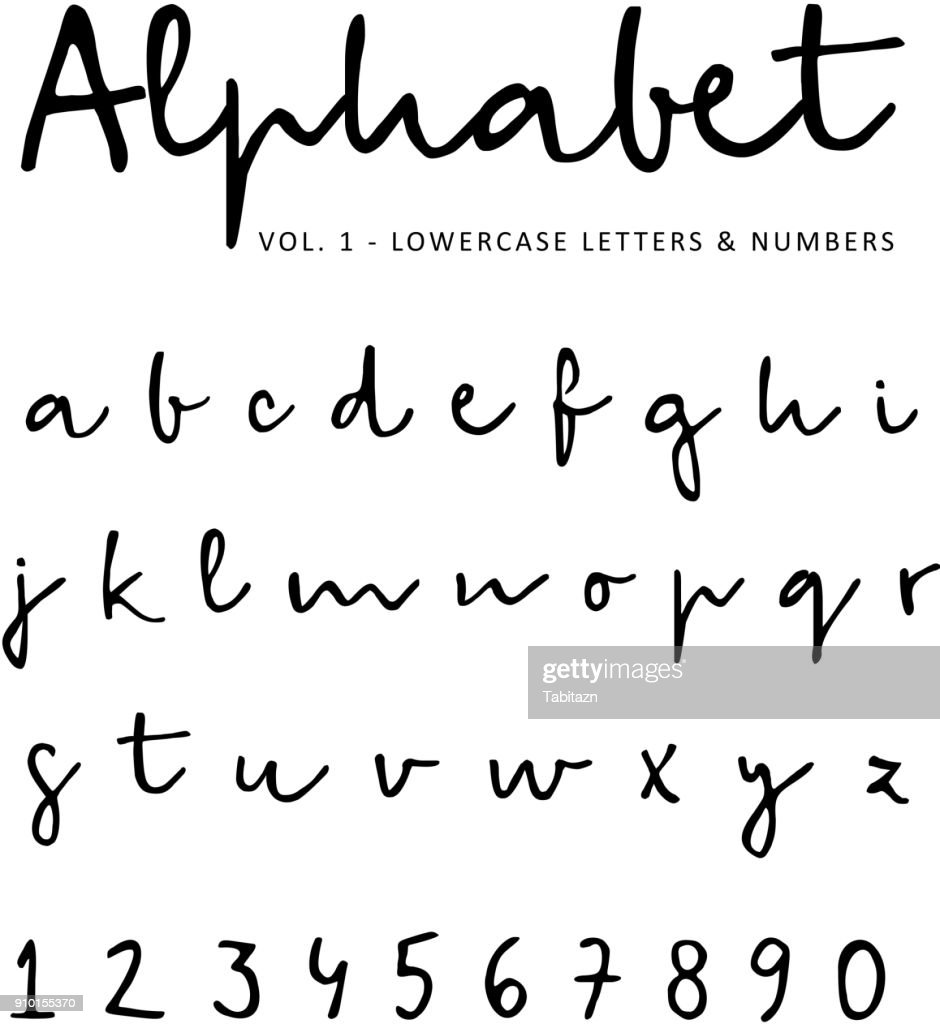 Hand drawn vector alphabet, font, isolated lower case letters and numbers written with marker or ink. Calligraphy, lettering