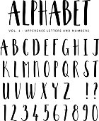 Hand drawn vector alphabet. Sans Serif brush font. Isolated letters.