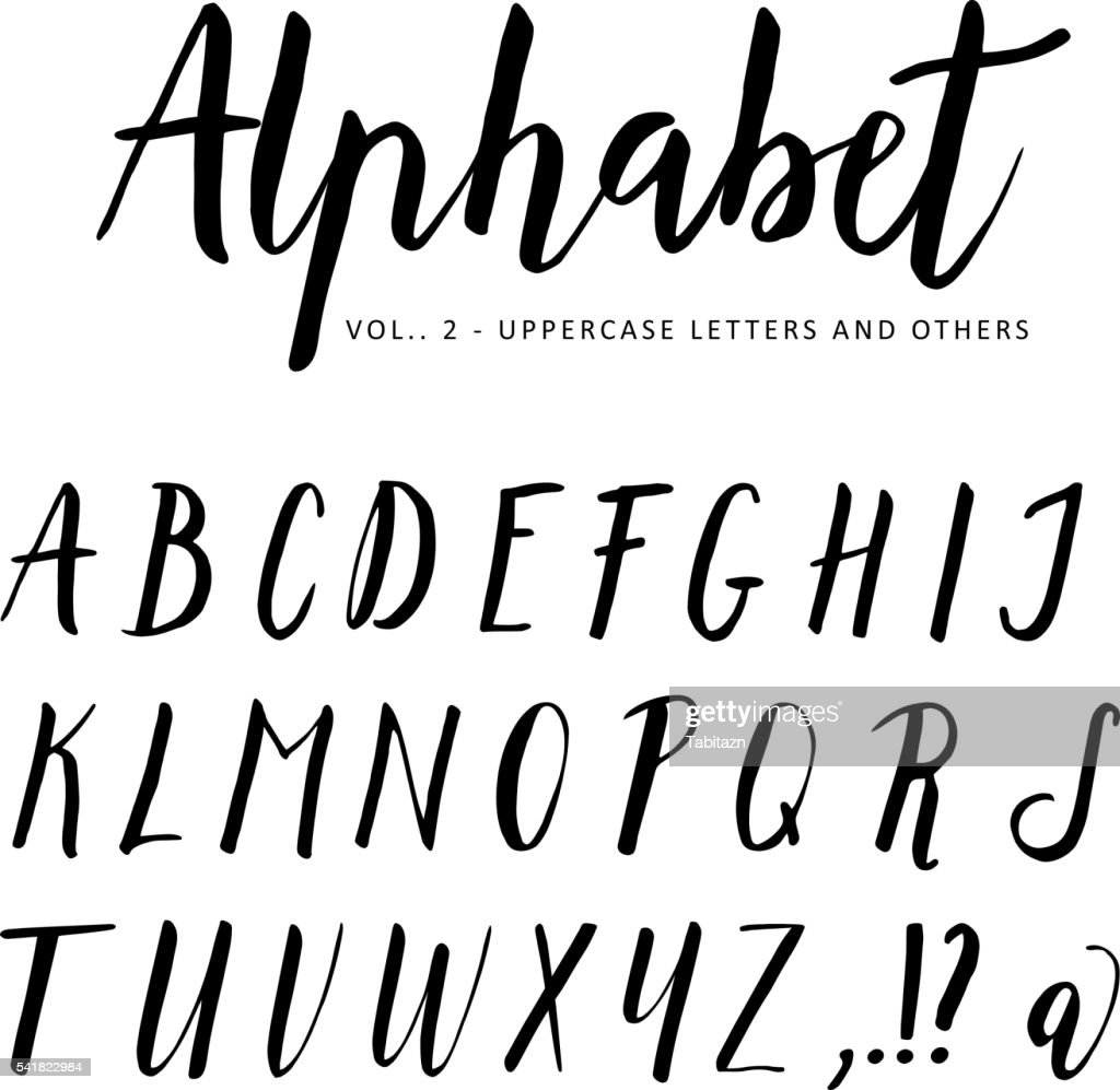 Hand drawn vector alphabet. Script brush font. Isolated letters.