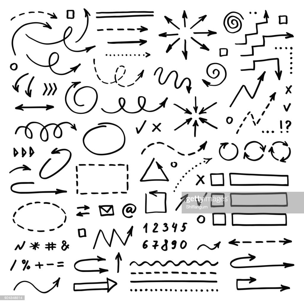 Hand drawn vector arrows set on white background. Doodle infographic design elements