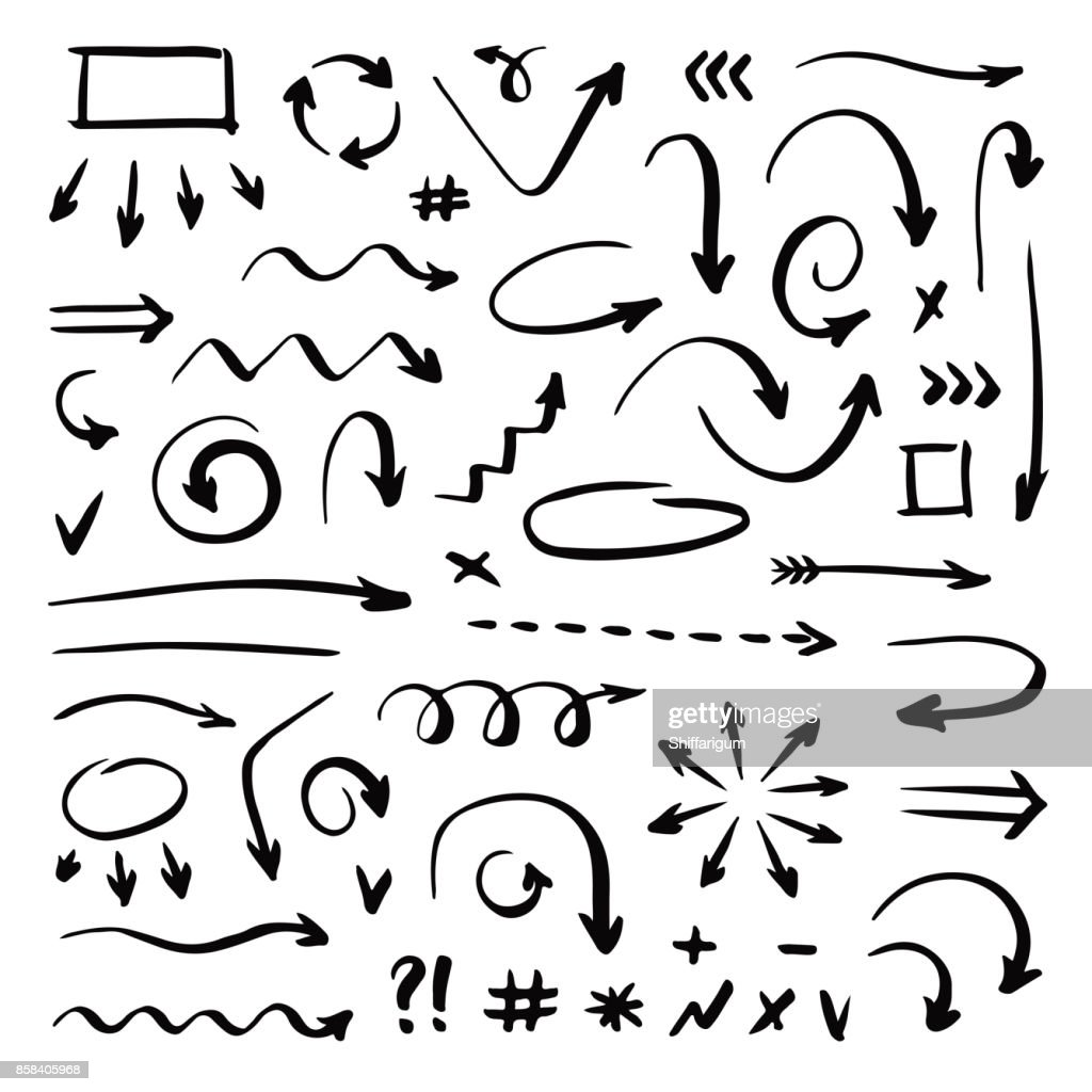 Hand drawn vector arrows set on  white background. Handwriting elements.