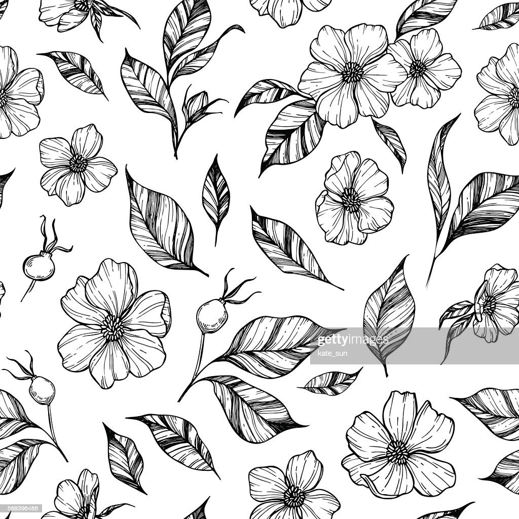 Hand drawn vector background. Seamless pattern with flowers