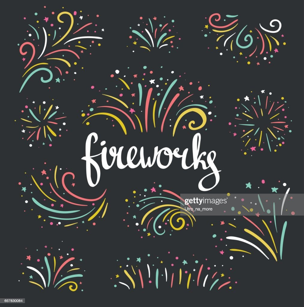 Hand drawn vector colorful Christmas fireworks on black background.