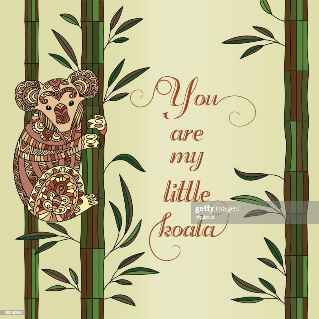 Hand drawn vector coloring page for adults with cute koala