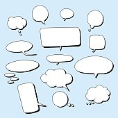Hand drawn vector comic bubbles. Isolated for use with text in all kinds of projects