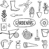 Hand drawn vector garden icon set. Vintage sketch set of hand drawn gardening tools and plants. Gardening sketches isolated on white background.
