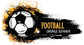 Hand drawn vector grunge banner with soccer ball