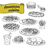 hand drawn vector illustration, a set of basic American cuisine