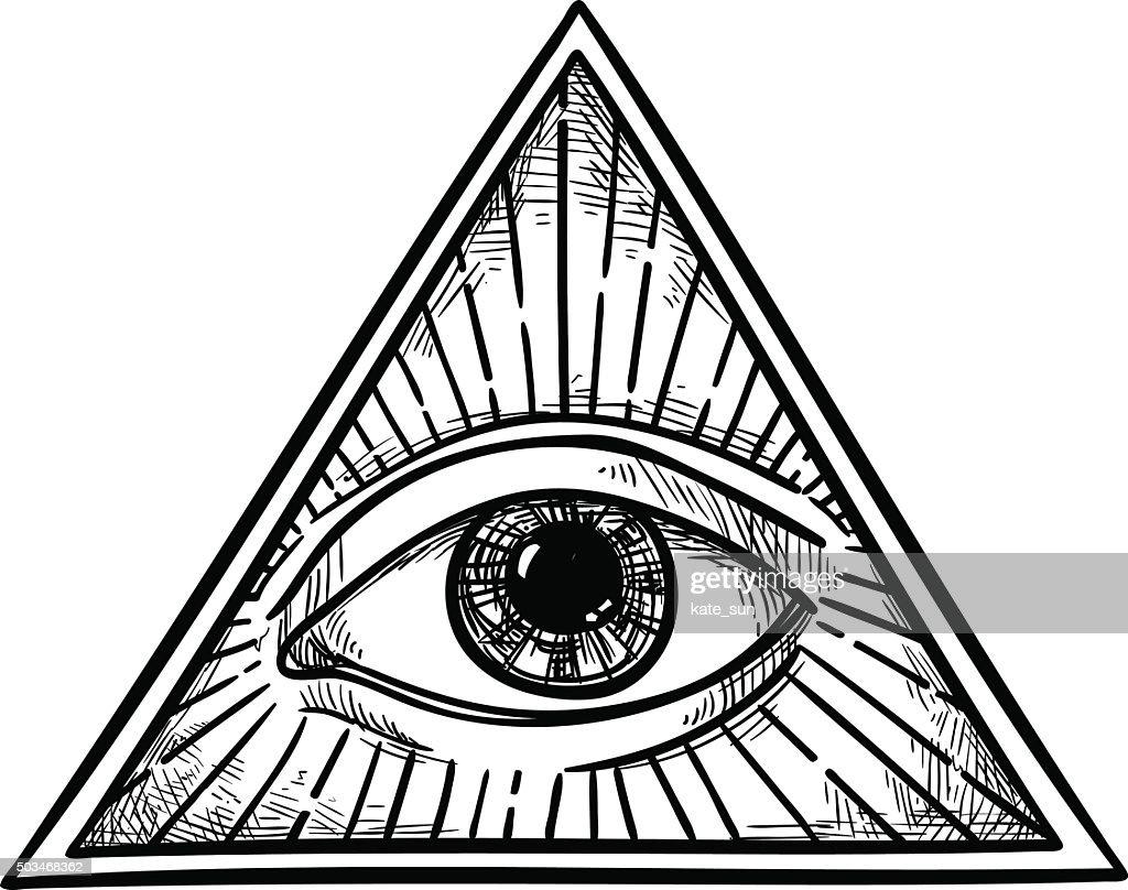 Hand drawn vector illustration - All seeing eye pyramid symbol.