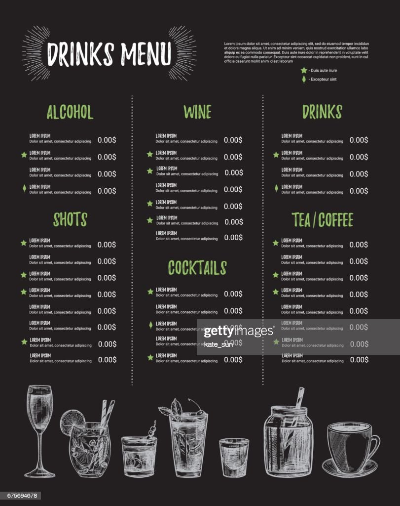 Hand Drawn Vector Illustration Bar Menu Template Of Restaurant Menu - Delivery menu template