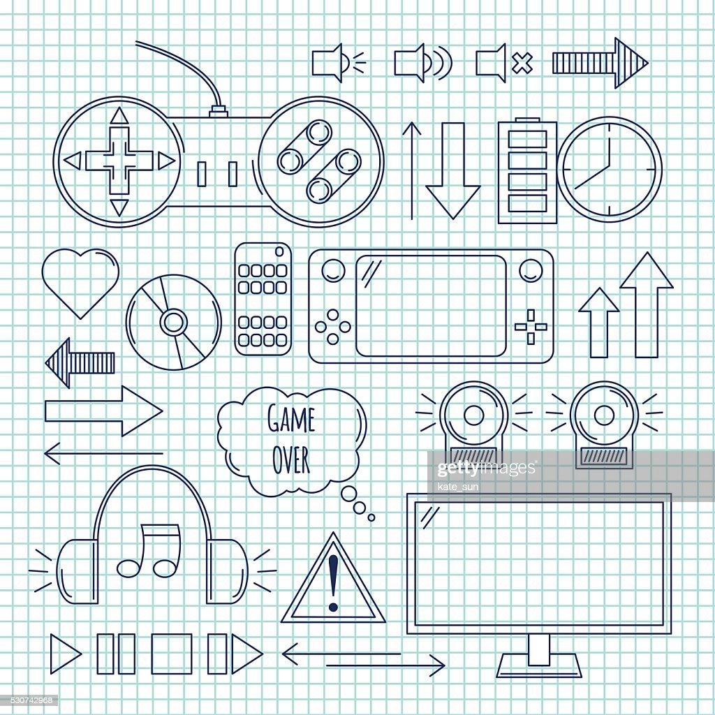 Hand drawn vector illustration - Computer games. Design elements