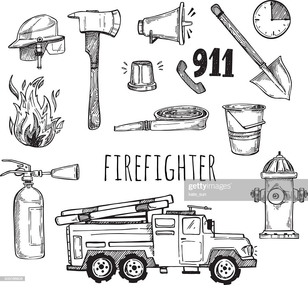 Hand drawn vector illustration - firefighter. Sketch icons
