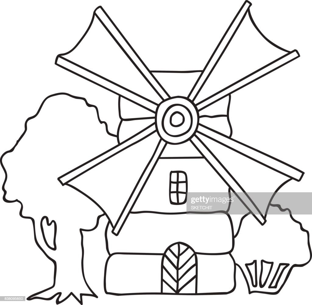 Hand drawn vector illustration flouring windmill countryside trees, landscape, coloring page adults kids