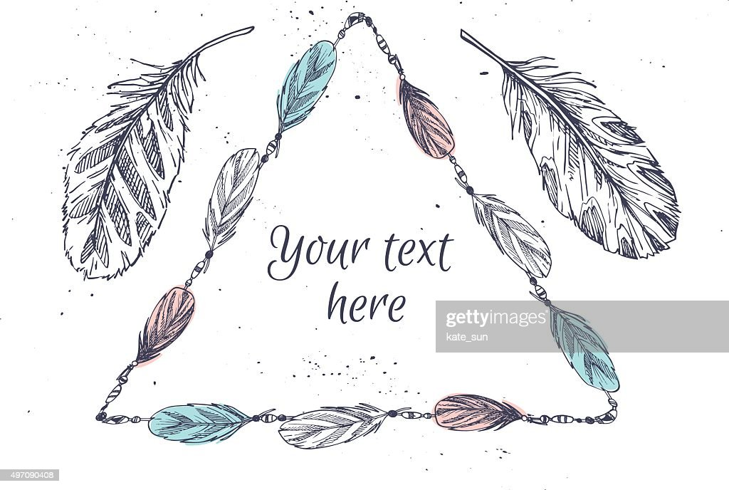 Hand drawn vector illustration - Frame with feathers. Tribal elements