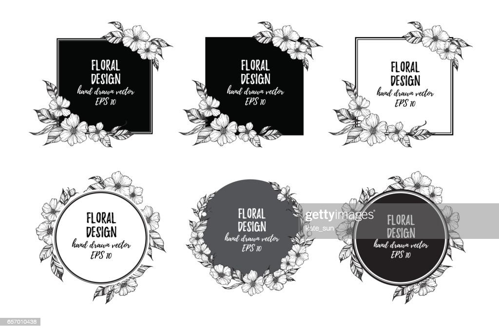 Hand drawn vector illustration - frames with flowers and leaves. Perfect for invitations, quotes, tattoo, textiles, blogs, posters etc.