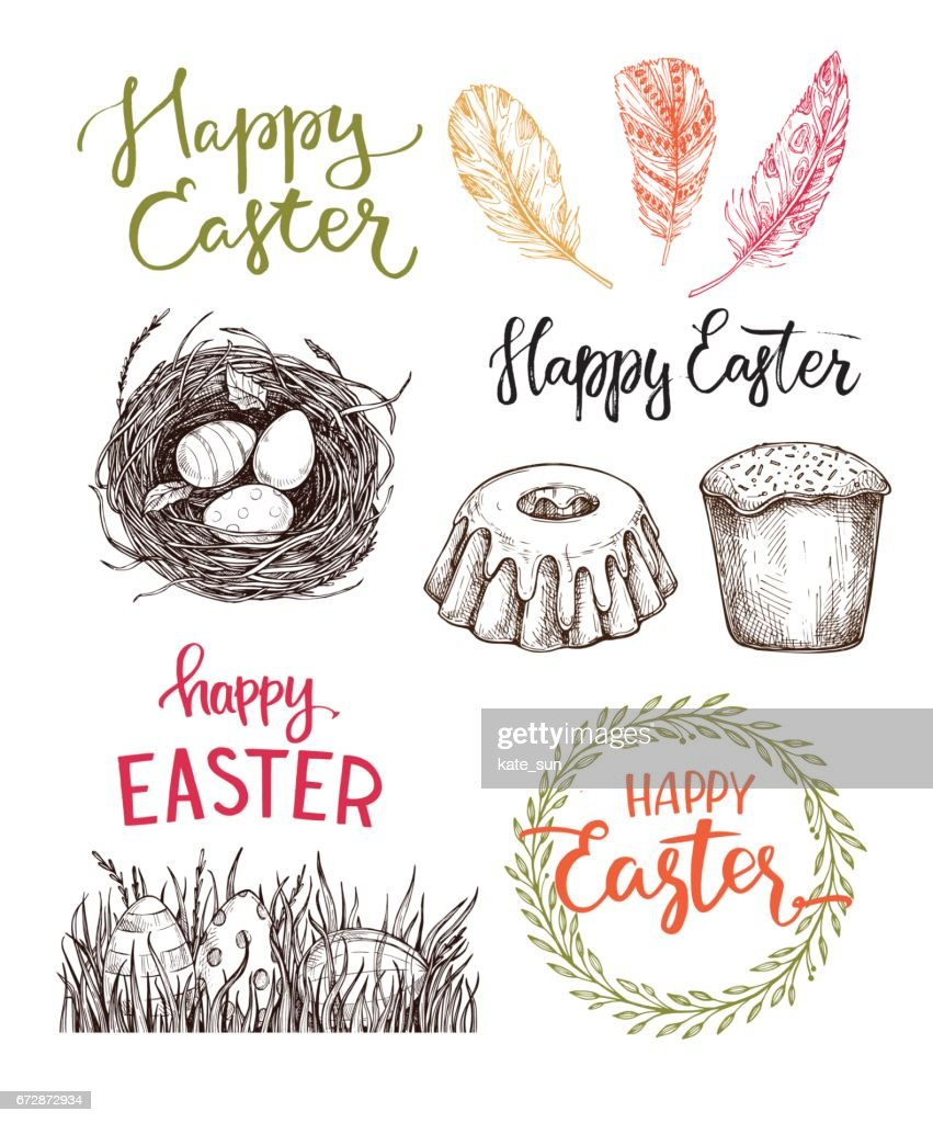 Hand drawn vector illustration. Happy Easter! Easter design elements (eggs, feathers, nest, cake, lettering). Perfect for invitations, greeting cards, blogs, posters and more