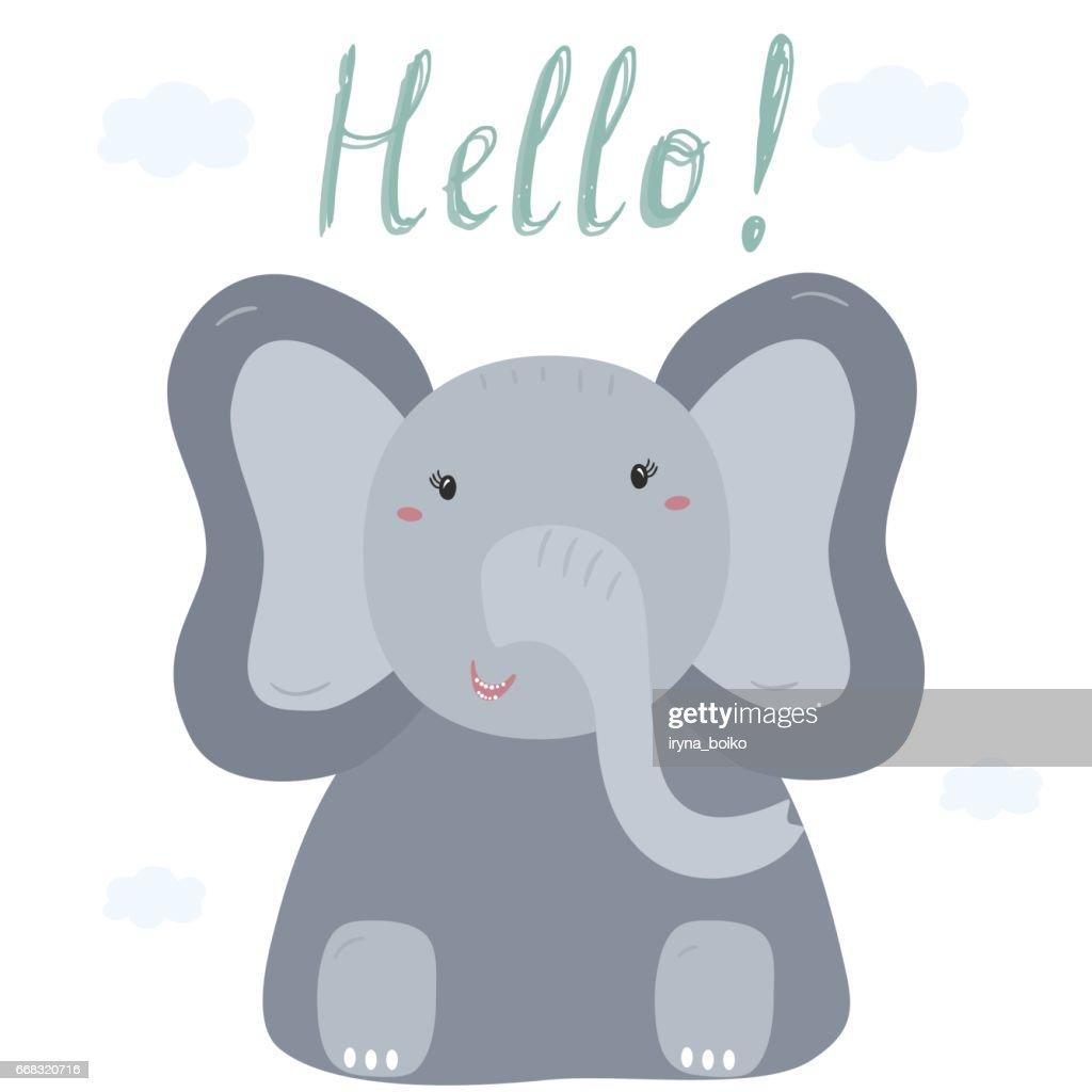 Hand drawn vector illustration Happy elephant vector card