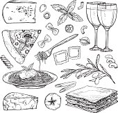 Hand drawn vector illustration - Italian food ( Different kinds of pasta; pizza, olives, tomato, basil, lasagna, wine, cheese etc). Design elements in sketch style. Perfect for menu, cards, blogs, banners.