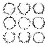 Hand drawn vector illustration - Laurels and wreaths. Design elements