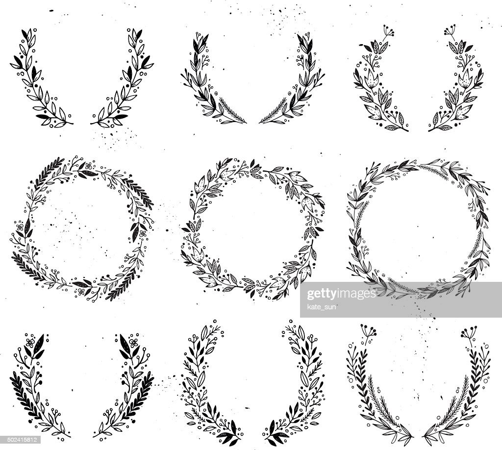 Hand drawn vector illustration - Laurels and wreaths.