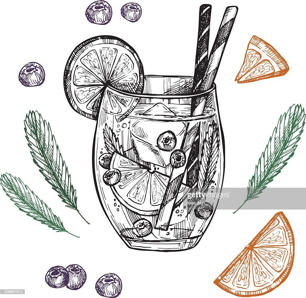 Hand drawn vector illustration - Lemonade with blueberry, mint