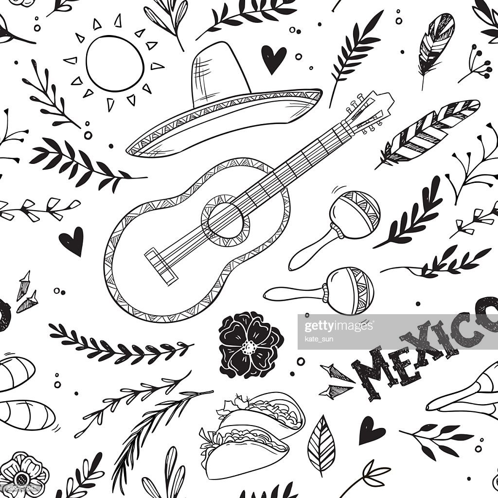 Hand drawn vector illustration - Mexico. Music festival.