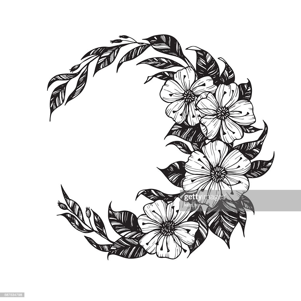 Hand drawn vector illustration - moon sign with flowers