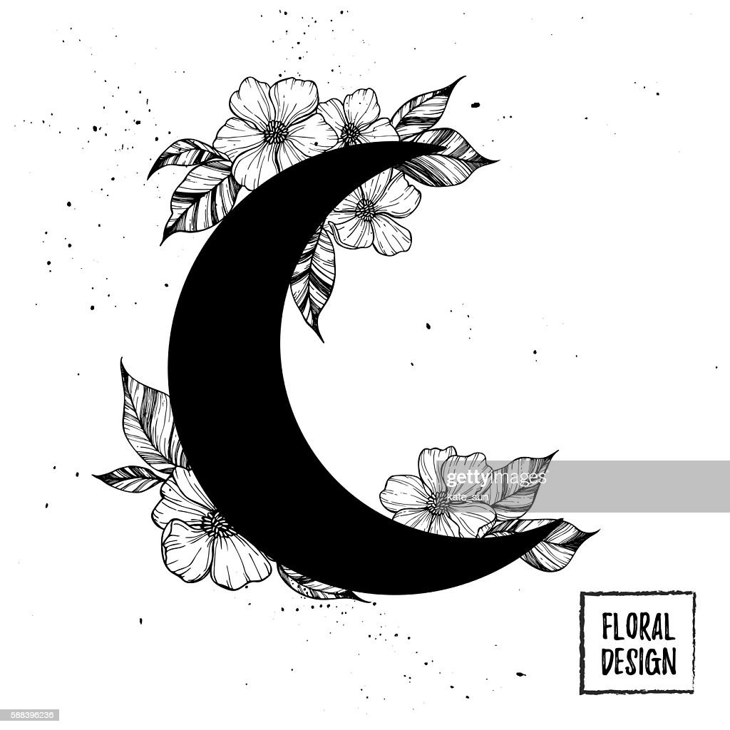 Hand drawn vector illustration - moon with flowers and leaves.