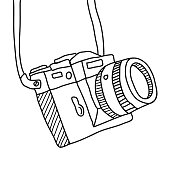 hand drawn Vector illustration of camera
