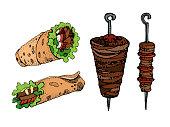 Hand drawn vector illustration of doner kebab. Roll, chicken roll, fast food, kebab, shawarma. Cartoon style.