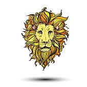Hand drawn vector illustration of doodle color lion. sketch. Vector eps 10