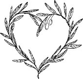 Hand drawn vector illustration - Olive branch, Heart Shaped Wreath