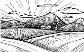 Hand drawn vector illustration - Organic farm. Sketch