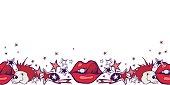 Hand drawn vector illustration. Punk rock theme.  red lips, stars, vinyls.