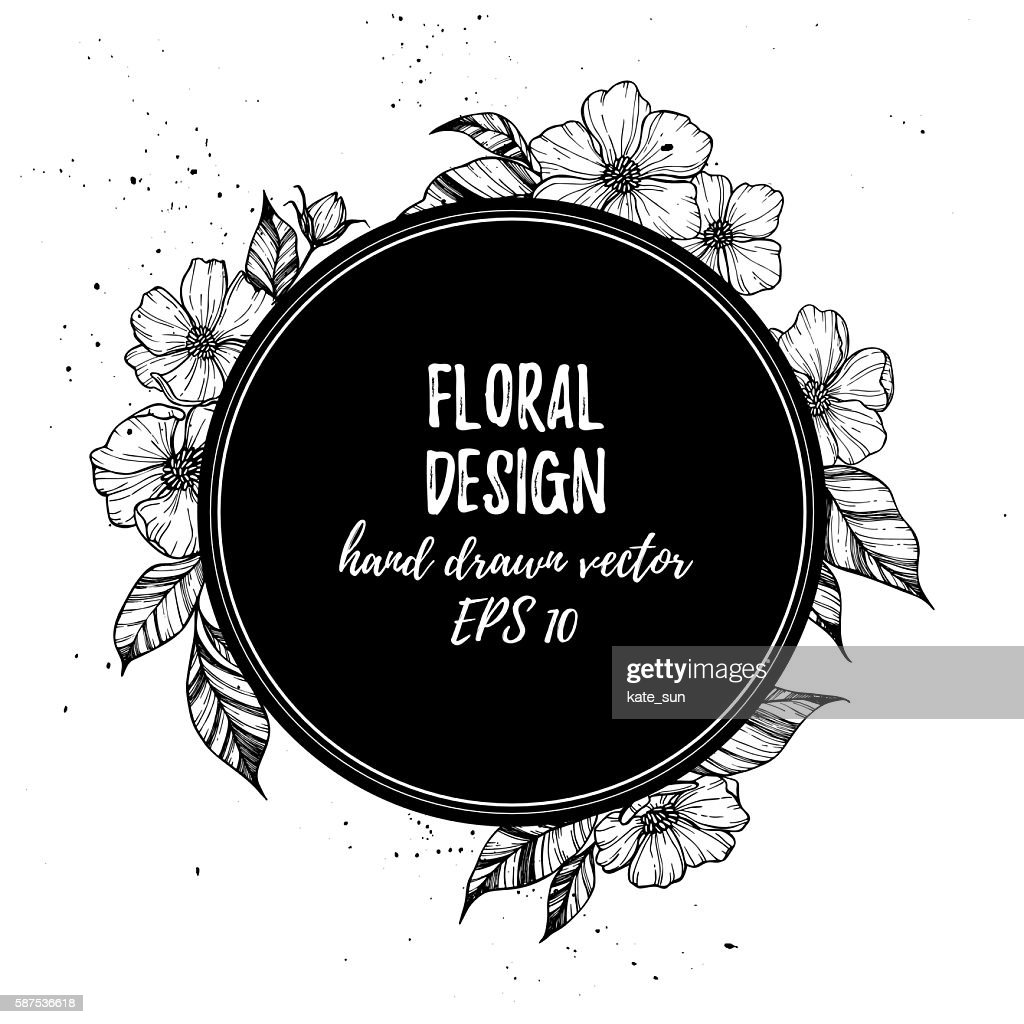 Hand drawn vector illustration - round card with flowers