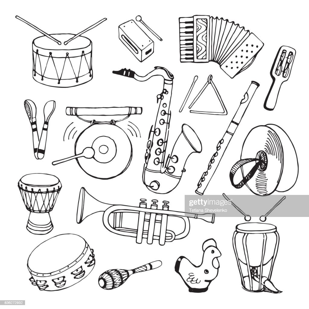 Hand drawn vector illustration. Saxophone, maracas, accordion, flute, percussion, drum and other.