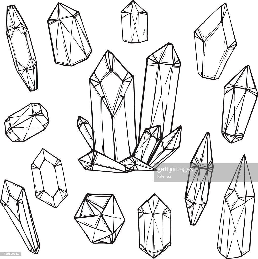 Hand drawn vector illustration - Set of geometric crystals