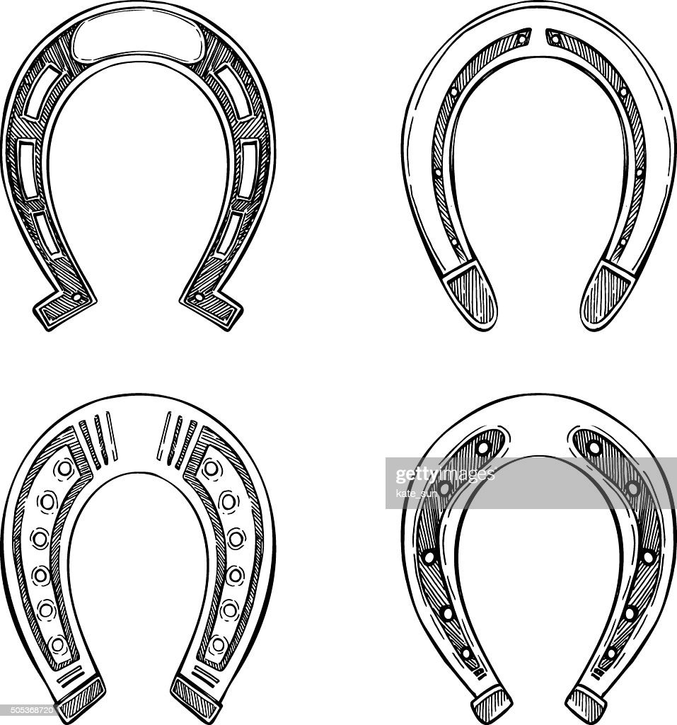 Hand drawn vector illustration - Set of horseshoes. Vintage