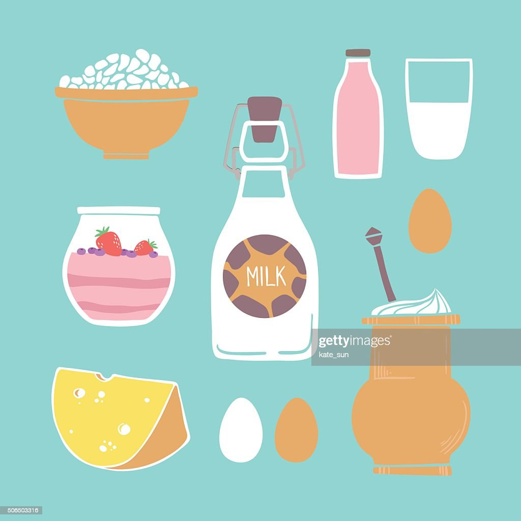 Hand drawn vector illustration - Set of milk products