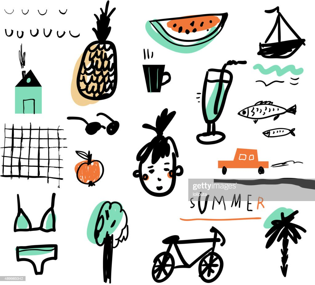Hand drawn vector illustration set of travel tourism and summer